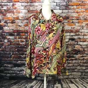 SIONI-PRETTY FLORAL LONG SLEEVE SILK BLOUSE SZ 3X